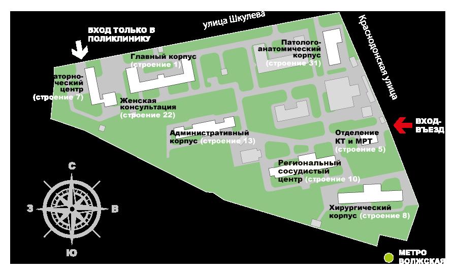 Схема территории ГКБ имени В.П. Демихова
